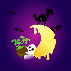 Little smiling ghost with witch's kettle with green potion on the deep purple and violet background with glowing melting moon, flying red eyed bats and black cat. Halloween pattern.