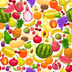 Fruits Background, Bright Seamless Pattern With Flat Fruits