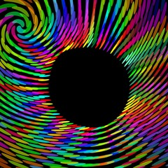 Psychedelic rainbow swirl with blank black place in middle, useful for own text, message, advertising, announcement, abstract futuristic background