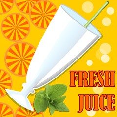 Cold fresh juice, template with glass, straw, bubbles, orange juicy slices and mind leaf on orange summer background with inscription fresh juice. Summer offer of cold healthy vitamin drinks