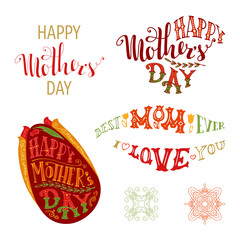 Happy Mother's Day Vector Set.