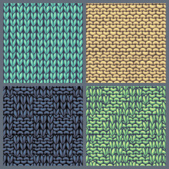 Vector set of various knitting patterns.