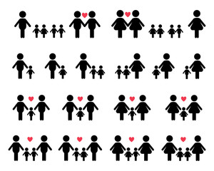 Gay and lesbian family vector icons