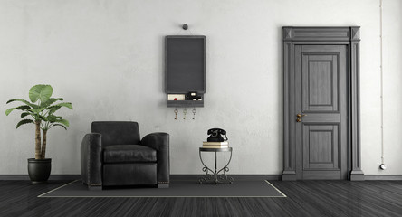 Black and white home entrance