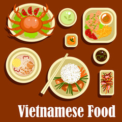 Healthy dishes flat icons of vietnamese cuisine