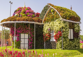 Amazing colorful house of flowers in the Miracle Garden park in Dubai, United Arab Emirates
