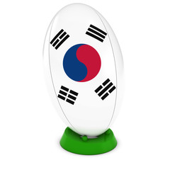 South Korea Rugby - South Korean Flag on Standing Rugby Ball