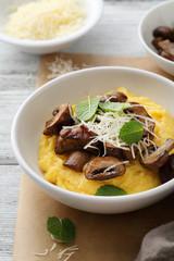 polenta with fried mushrooms
