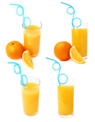Tall glass filled with the orange juice with curved blue plastic drinking straw inside and fruits, composition isolated, set of different foreshortenings