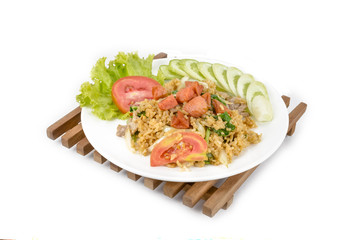 Fried rice with sausage on white background