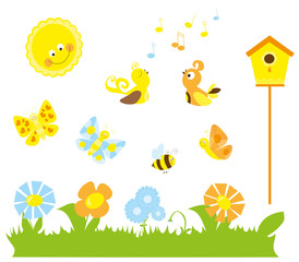 Set of cute cartoon nature elements : spring / summer collection for children with sun, flowers ,birdhouse, birds, flying bee, butterflies