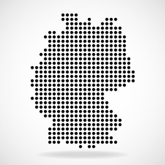 Abstract map of Germany from round dots, vector illustration