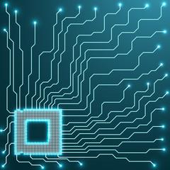 Cpu. Microprocessor. Microchip. Circuit board, vector illustration, eps 10