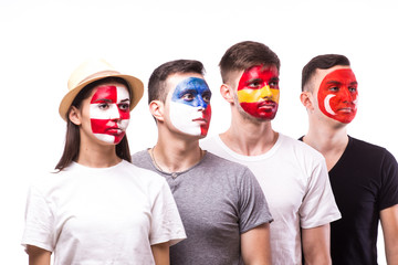 Face portrait of football fans support their national team: Spain, Czech Republic, Turkey, Croatia on white background. European football fans concept.