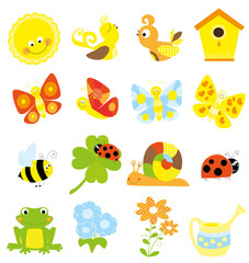 set of cute little creatures and nature elements - vectors for children