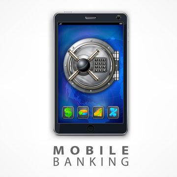 Mobile banking safety vector illustration
