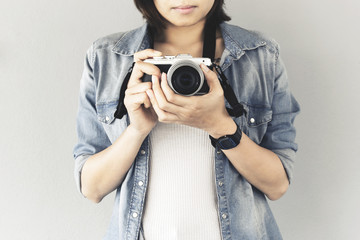 hipster traveler photographer girl