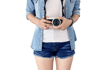 photographer girl taking picture on vintage camera, traveling holiday Photography Concept,  isolated  and clipping path inside
