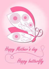 Happy mother's day card with butterfly in pink design