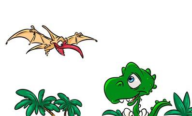 Dinosaur pterodactyl animal cartoon illustration
