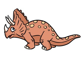 Dinosaur triceratops cartoon illustration isolated image animal character