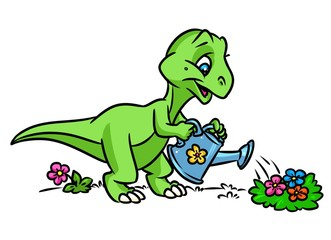 Dinosaur gardener flowers cartoon illustration  isolated image animal character