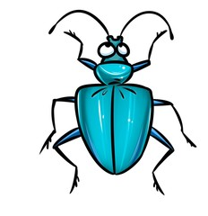 Beetle blue insect cartoon illustration