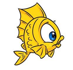 Fish yellow cartoon illustration isolated animal character