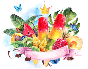 Exotic watercolor greeting card