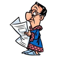 Man bathrobe reading newspaper cartoon illustration