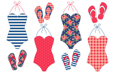Cute vintage summer elements as swimsuits and flip-flops in shabby chic style for your decoration