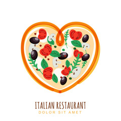 Hand drawn illustration of italian pizza in heart shape. Vector food logo design template. Pizza with tomato, mushrooms, olives. Concept for, restaurant menu, cafe, fast food, pizzeria.