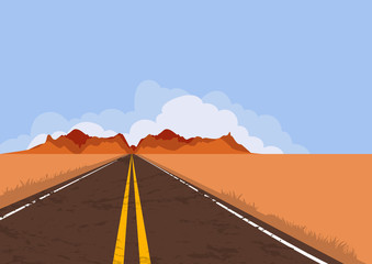Road in desert and mountains. Summer or autumn panoramic landscape with empty highway and blue sky. Country street road, flat style illustration. Nature vector background with copy space.