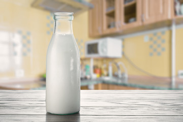 Milk on the kitchen table