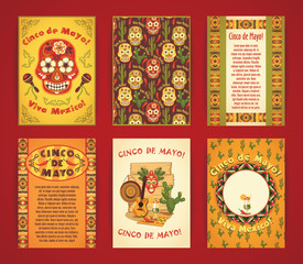 Cinco de Mayo. Big set of vector templates with traditional Mexi