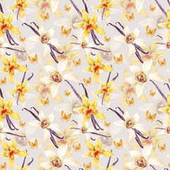 Tropical  seamless watercolor floral pattern