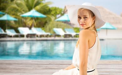 beautiful woman enjoying summer over beach