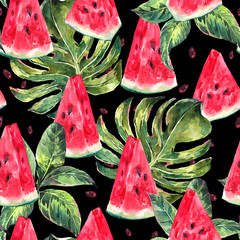 Watercolor seamless pattern with slices of watermelon