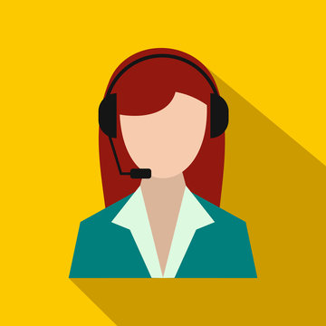 Support phone operator in headset icon, flat style