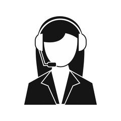 Support phone operator in headset icon