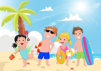 illustration of happy kids playing on the summer beach