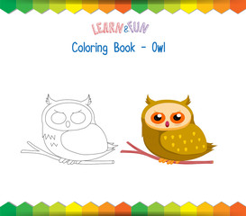 Owl coloring book educational game