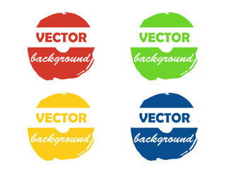 Colorful round paint stains, for your text, set isolated illustration background vector