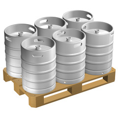Wooden pallet with kegs, isolated on white background.