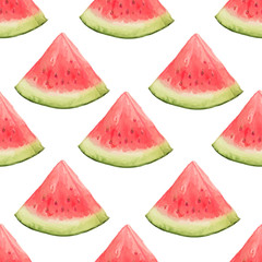 Watercolor seamless pattern of watermelon slices. Vector illustration of summer fruits. Eco food illustration