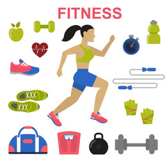 Fitness concept, vector flat background with running woman and sport equipment.