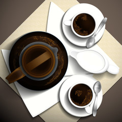 Morning invigorating coffee and milk for two people. Vector illustration.