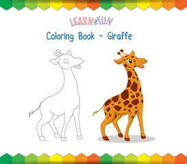 Giraffe coloring book educational game