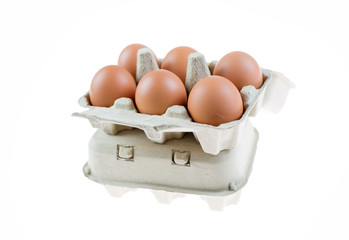 brown eggs in egg carton