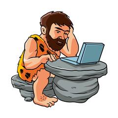 Cartoon caveman using a laptop.